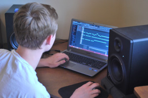 Landis LaPace works on a song on his computer. LaPace uses FL Studio to create his tracks.
