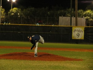 Senior Nick Sucarichi follows through on a pitch. He threw the first perfect game in school history last Friday night against Gaither.