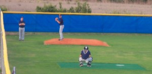 Gideon Dunn warms up before the game. He has 41 strikeouts and an opponents batting average of .194 this season.