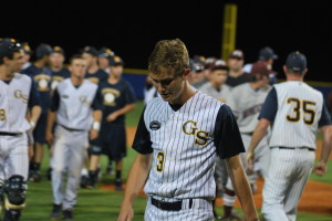 Senior starting pitcher Logan Lapace walks away from a brief emotional scuffle with a Wiregrass player. In his final outing in the regional quarterfinals, Lapace allowed only one run in